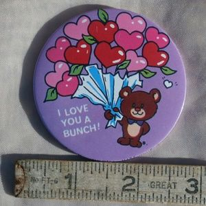 Vintage Button Pin I Love You a Bunch w Teddy Bear